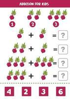 adição com beterraba. resolva a equação. jogo de matemática para crianças. vetor