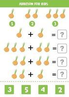adição com cebola de desenho animado. jogo de matemática para crianças. vetor