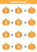 adição para crianças com abóboras bonitos dos desenhos animados. equações matemáticas. vetor
