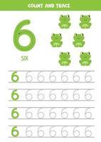 planilha para aprender números com girafa fofa. número seis. vetor