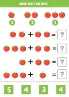 adição para crianças com tomates vermelhos bonitos dos desenhos animados. vetor