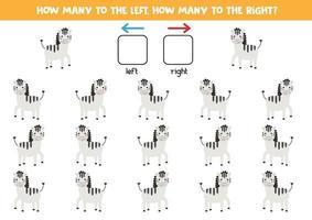 esquerda ou direita com zebras bonitos dos desenhos animados. vetor