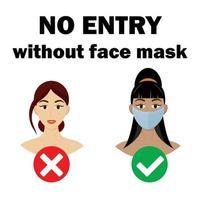 ícone de meninas, nenhuma entrada sem máscara facial. ilustrações vetoriais. vetor