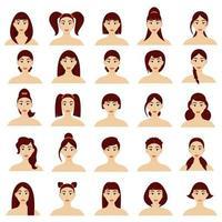 conjunto de penteados femininos. lindas meninas morenas com penteados diferentes, isolados em um fundo branco. vetor