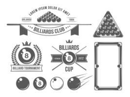 acessórios e emblemas de bilhar vetor