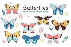 conjunto de ilustrações de butterly em vetor, estilo infantil plano e decorativo vetor