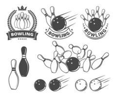 objetos e emblemas de boliche vetor