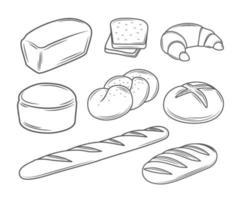 conjunto de ilustrações de pão vetor