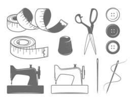 ícones de costura e ilustrações vetor
