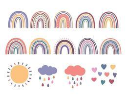 conjunto de arco-íris, ilustrações boho vetor