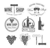 acessórios e emblemas de vinho vetor
