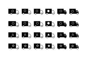 Ícones de caminhão baú na cor preta vetor