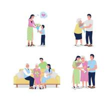 Conjunto de caracteres detalhados do vetor de cores planas do dia das mães