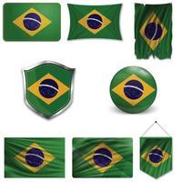 conjunto da bandeira nacional do brasil em desenhos diferentes em um fundo branco. ilustração vetorial realista. vetor