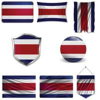 conjunto da bandeira nacional da costa rica em projetos diferentes em um fundo branco. ilustração vetorial realista. vetor