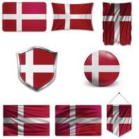 conjunto da bandeira nacional da Dinamarca em diferentes designs em um fundo branco. ilustração vetorial realista. vetor