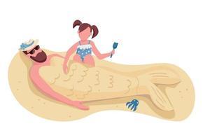 filha enterrando o pai em personagens sem rosto de vetor de cor lisa de areia. entretenimento de verão em família, recreação na praia isolada ilustração dos desenhos animados para design gráfico da web e animação