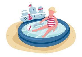 criança bonita brincando com brinquedos em personagem sem rosto de vetor de cor plana de piscina inflável. atividade de praia infantil, ilustração de desenho animado isolada de entretenimento de verão para design gráfico e animação web