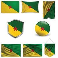conjunto da bandeira nacional da guiana francesa em desenhos diferentes em um fundo branco. ilustração vetorial realista. vetor