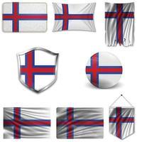 conjunto da bandeira nacional das ilhas faroé em desenhos diferentes em um fundo branco. ilustração vetorial realista. vetor