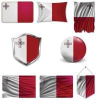 conjunto da bandeira nacional de malta em desenhos diferentes em um fundo branco. ilustração vetorial realista. vetor