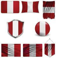 conjunto da bandeira nacional do peru em desenhos diferentes em um fundo branco. ilustração vetorial realista. vetor