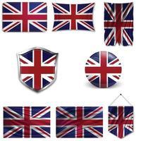 conjunto da bandeira nacional da Grã-Bretanha em diferentes designs em um fundo branco. ilustração vetorial realista. vetor