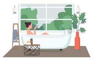 mulher em personagem sem rosto de vetor de cor plana de banheiro automatizado. jovem com smartphone tomando banho. ilustração de desenho animado de controle de tecnologia de casa inteligente para animação e design gráfico da web