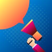 Mão segurando o megafone Marketing conceito ilustração em vetor