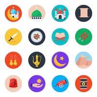 conjunto de ícones culturais islâmicos vetor