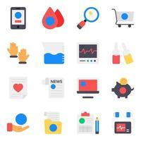 conjunto de ícones de acessórios médicos e de saúde vetor