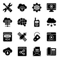 conjunto de ícones de rede e tecnologia vetor