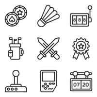 conjunto de ícones de elementos de esportes e fitness vetor