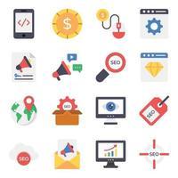 conjunto de ícones de marketing e negócios vetor