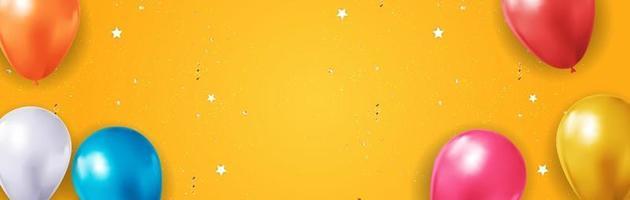 fundo de balão 3d realista para festa, feriado, aniversário, cartão de promoção, cartaz. eps10 de ilustração vetorial vetor