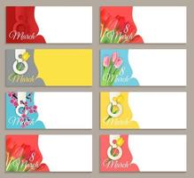 8 de março coleção de banner de venda definir projeto de plano de fundo. modelo para anúncios de publicidade, web, mídia social e moda. cartaz, folheto, cartão de felicitações, cabeçalho para espaço de cópia do site ilustração vetorial eps10 vetor