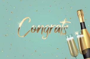 fundo de parabéns 3d realista com garrafa de champanhe e uma taça para festa, feriado, aniversário, cartão de promoção, cartaz. ilustração vetorial eps10 vetor
