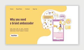 modelo de vetor silhueta plana embaixador da marca página de destino. layout da página inicial de marketing de mídia social. interface de site de uma página do serviço influenciador com personagem de desenho animado. banner da web, página da web