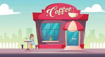 coffeeshop na ilustração vetorial de cor lisa na calçada. pessoa tomando um brunch no café do lado de fora. exterior do restaurante. fachada do prédio de tijolos. desenho animado 2D moderno com a mulher no fundo vetor