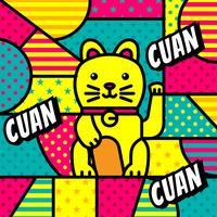 Pop art moderno do gato da fortuna de China vetor