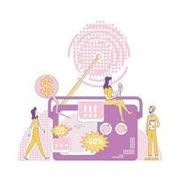 rádio publicidade ilustração em vetor conceito linha fina. comerciante, host e ouvinte personagens de desenhos animados 2D para web design. anúncio público, propaganda transmitindo ideia criativa