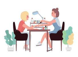 personagens de vetor de cor lisa manicure. mulher lustrando as unhas por lado. tratamento cosmético para cliente mulher branca. pintar as unhas. ilustração de desenhos animados de procedimento de salão de beleza isolado
