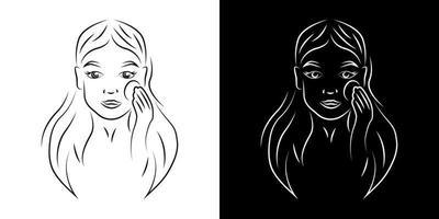 mulher removendo compõem ilustração em vetor contorno retrato. rosto de menina com arte de linha realista de expressão sorridente. senhora com contorno de algodão em fundos preto e branco