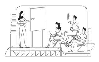 ilustração em vetor linha fina escola de negócios. professor e alunos delinear personagens em fundo branco. mentoria corporativa, curso de treinamento profissional, desenho de estilo simples de coaching