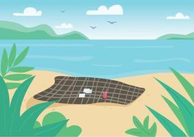 cobertor na ilustração vetorial de cor plana de praia selvagem. toalha e cartas de jogar na areia. férias de verão, recreação na natureza. paisagem litorânea 2D dos desenhos animados com água no fundo vetor