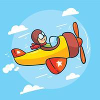 Vetor de biplano dos desenhos animados