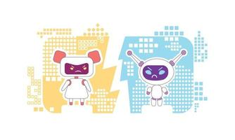 ilustração em vetor conceito linha fina bots bons e ruins. robôs futuristas discutindo personagens de desenhos animados 2D para web design. assistentes virtuais pessoais. ideia criativa de inteligência artificial