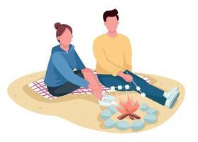 casal assando marshmallow em personagens sem rosto de vetor de cor lisa praia. passeio de verão. namorado e namorada no piquenique isolado ilustração dos desenhos animados para web design gráfico e animação