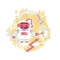 ilustração em vetor conceito linha fina hacker bot. roubar senhas, dados e conteúdo de contas pessoais. personagem de desenho animado 2d robô raspador ruim para web design. ideia criativa de ataque cibernético