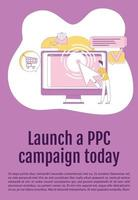 lançar campanha ppc hoje modelo de vetor silhueta plana de cartaz. folheto publicitário, projeto de conceito de uma página de livreto com personagens de desenhos animados. panfleto de marketing pago por clique, folheto com espaço de texto
